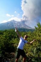 Enjoying the sun and eruptions at Sakurajima in 2013.