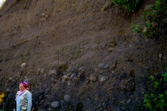 Examining a pyroclastic flow deposit (2014).