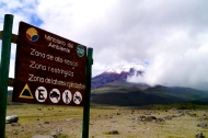 Hazard warning signs at Cotopaxi (2016).