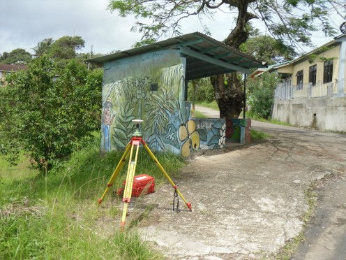 GPS tripod at the worlds most colourful bus stop.