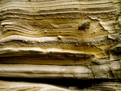 A beautiful pyroclastic deposit with interbedded tephra layers (...I think...I'm no field geologist).