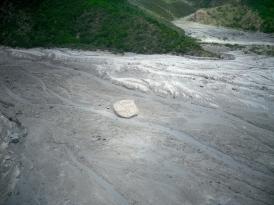Huge boulder within a lahar deposit.