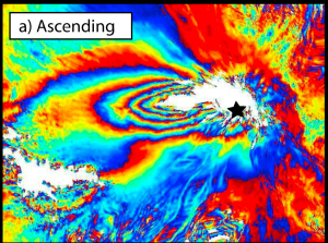 An example of deformation observed by InSAR in 2008 on the west flank of Tungurahua. Image: Biggs et al., 2010, Geophysical Research Letters.